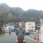 In front of Yamadera station, with the eponymous temple behind me