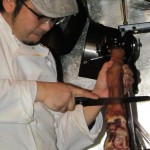 Having slices carved of a leg at the wine-specialized Argento