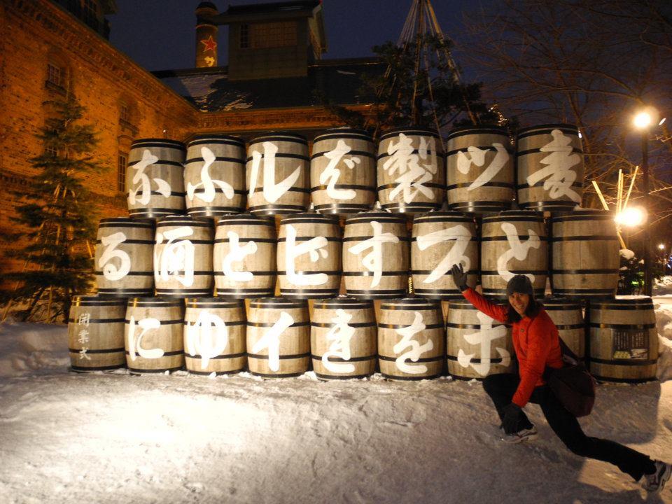 Jenn outside the beer factory in Sapporo