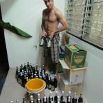 Joe standing proud with his 100 bottled beers
