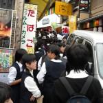 Kiyomizudera street inundated with japanese school kids