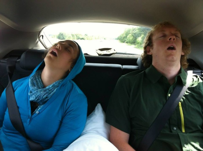 Matt and Alyssa sleeping in the car