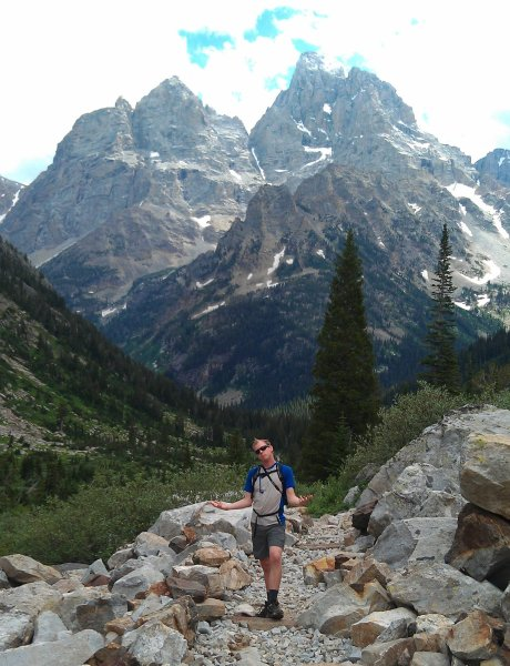 Hiking up Cascade Canyon in the Tetons, with a greasehawk